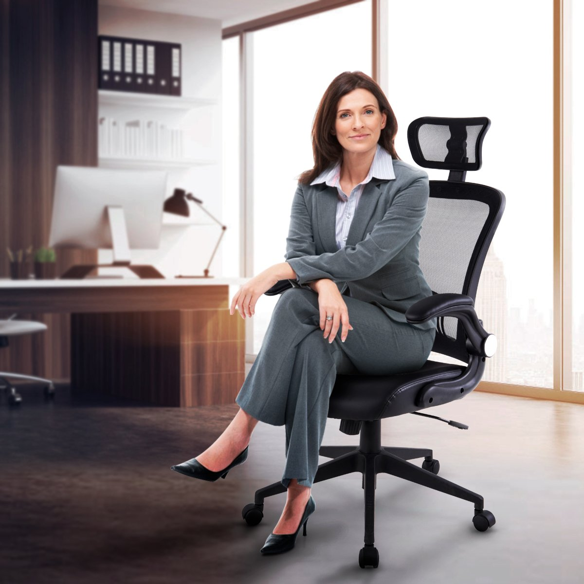 LCH Ergonomic High Back Mesh Office Chair with Bonded Leather Seat &Flip-up Arms,Adjustable Headrest, Built-in Lumbar Support Computer Desk Task Executive Chair