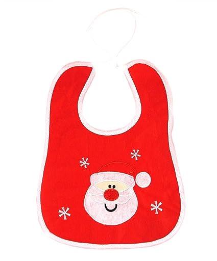 Navidad bebé recién nacido babero Xmas Nursery alimentación, diseño de Papá Noel bordado regalo Talla