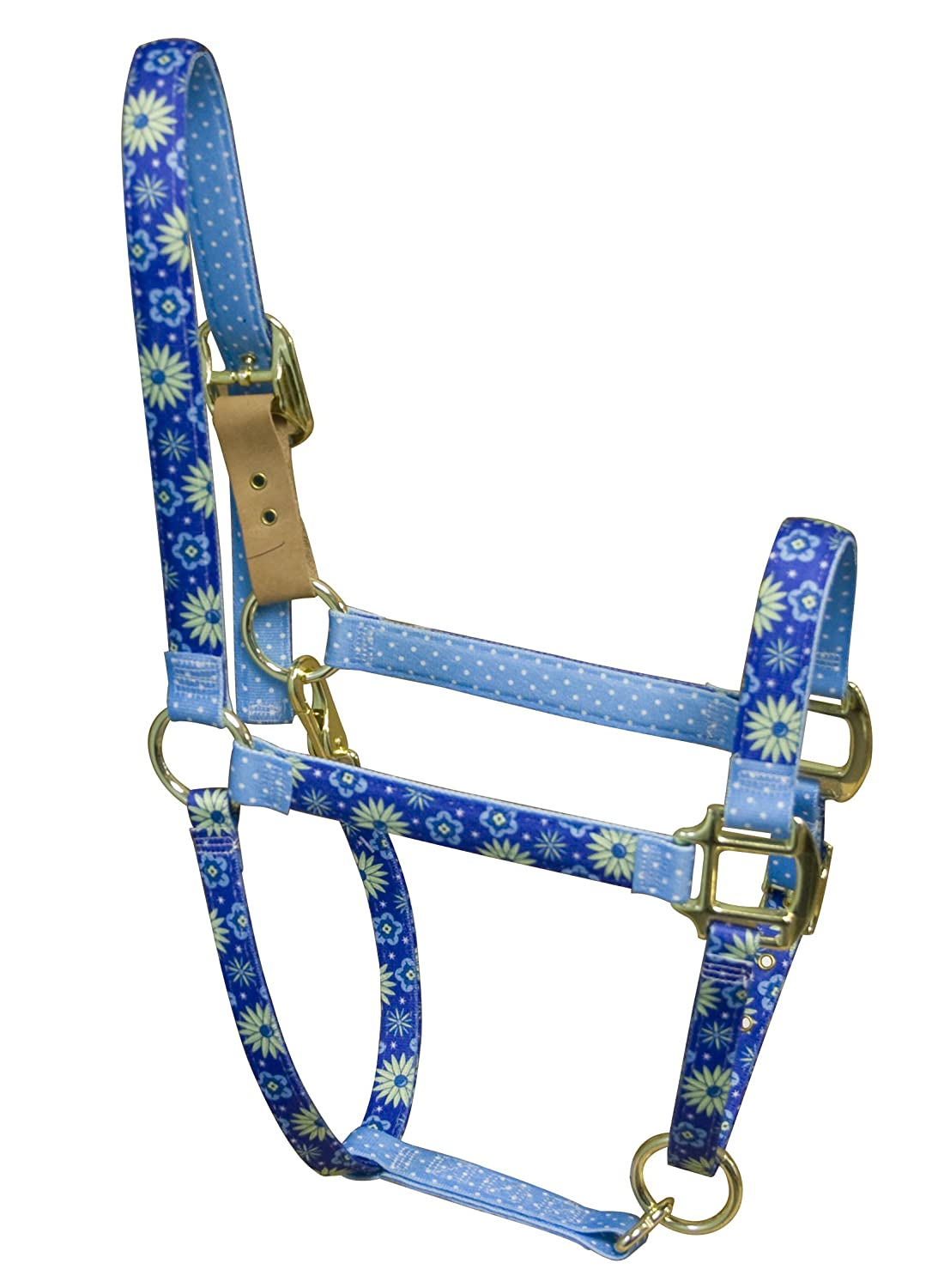 Red Haute Horse TEF1201 P High Fashion Horse Horse Halter, Teal Flowers