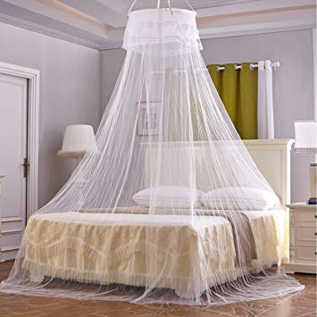 Circular Hanging Round Lace Bed Canopy Netting Bedroom Decorative Dome Mosquito Net & Amazon.com: Circular Hanging Round Lace Bed Canopy Netting Bedroom ...