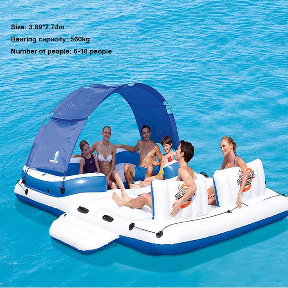 Île flottante surdimensionnée pour 6 à 10 personnes Jouets gonflables,Jeux d'eau famille flottante pour la dérive marine, lit flottant pour parasol,pour fêtes de famille - 3.89 * 2.74m