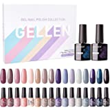 Gellen Gel Nail Polish Kit 16 Colors With Top Base Coat - Popular Nude Grays Natural Colors Gel Collection, Solid Sparkles Glitters UV Nail Gel Colors Manicure Set