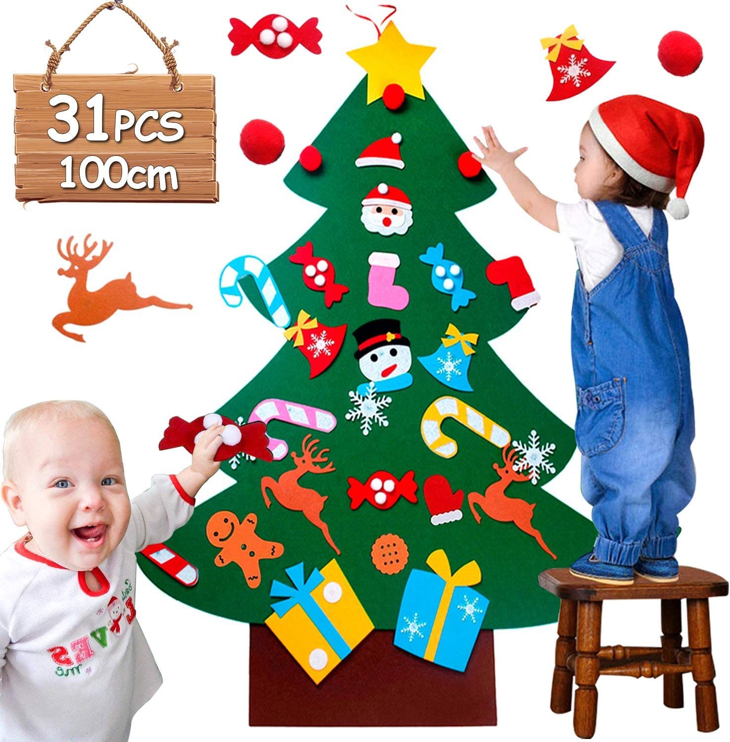 UUCOLOR 3ft Christmas Tree with 31pcs Felt Christmas Tree Kit 52% OFF £2.40 @ Amazon