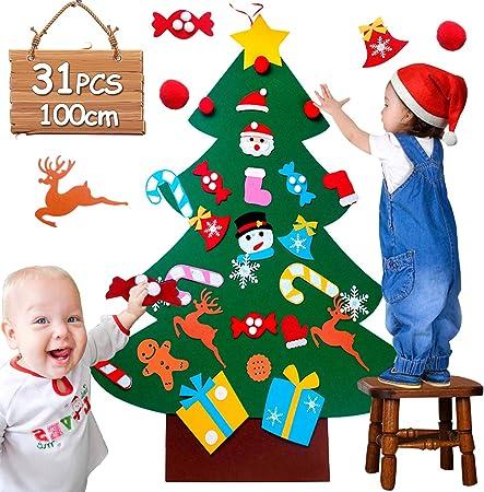 100cm Feutrine Noel DIY Decoration Noel Sapin Enfants de 31 Ornements  Cadeaux De Noël pour Arbre De Noël Feutré, Porte Décoration Murale à  Suspendre