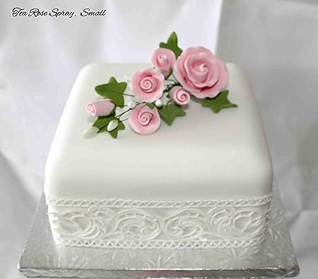 Tea rose spray small pink sugar flowers cake topper amazon tea rose spray small pink sugar flowers cake topper mightylinksfo