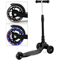 Busyall Easy-Folding Kick Scooter City Urban Commuter Street Push Scooter with Big Smooth Wheels,Adjustable T Handlebar,Rear Mudguard, Rear Brake