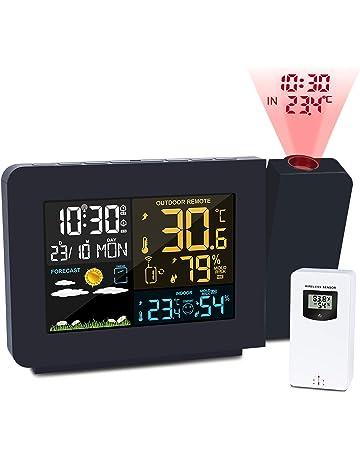 e936ace2b Kalawen Orologio Proiezione Soffitto Temperatura Esterna Interna con Sensore  Esterno, Previsioni Stazione Meteo Sveglia Proiettore