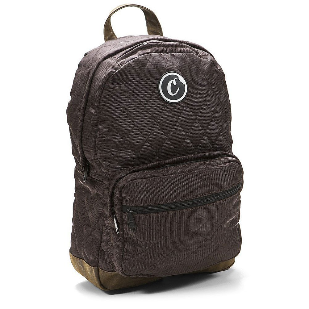 Cookies SF Berner Men's V2 1680 Quilted Nylon Smell Proof Backpack Bag W/ Pouch Brown