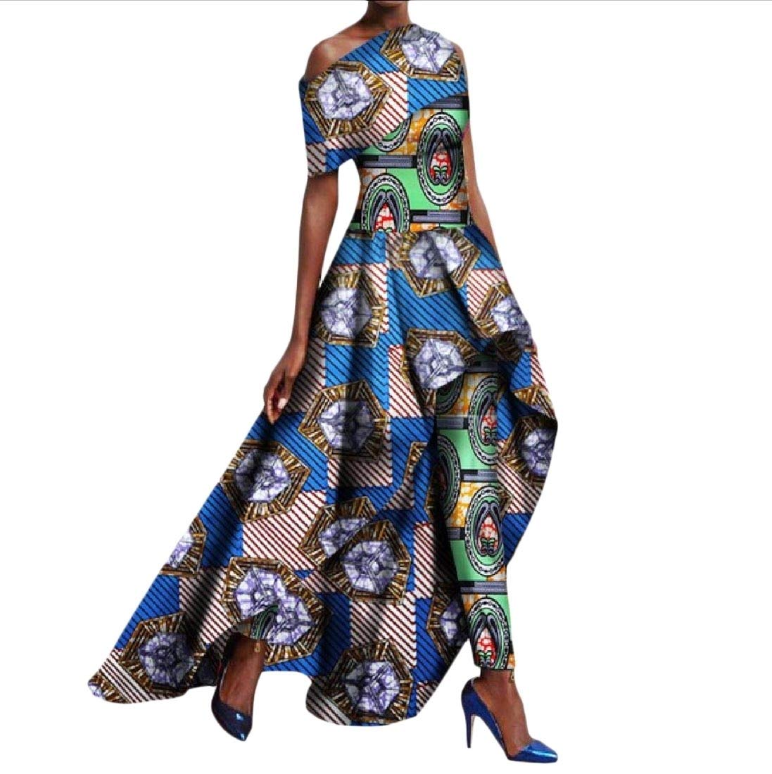 Winwinus Women's 2pcs Set Africa Pants Fit Dashiki Printing Party Long Dress 2 6XL