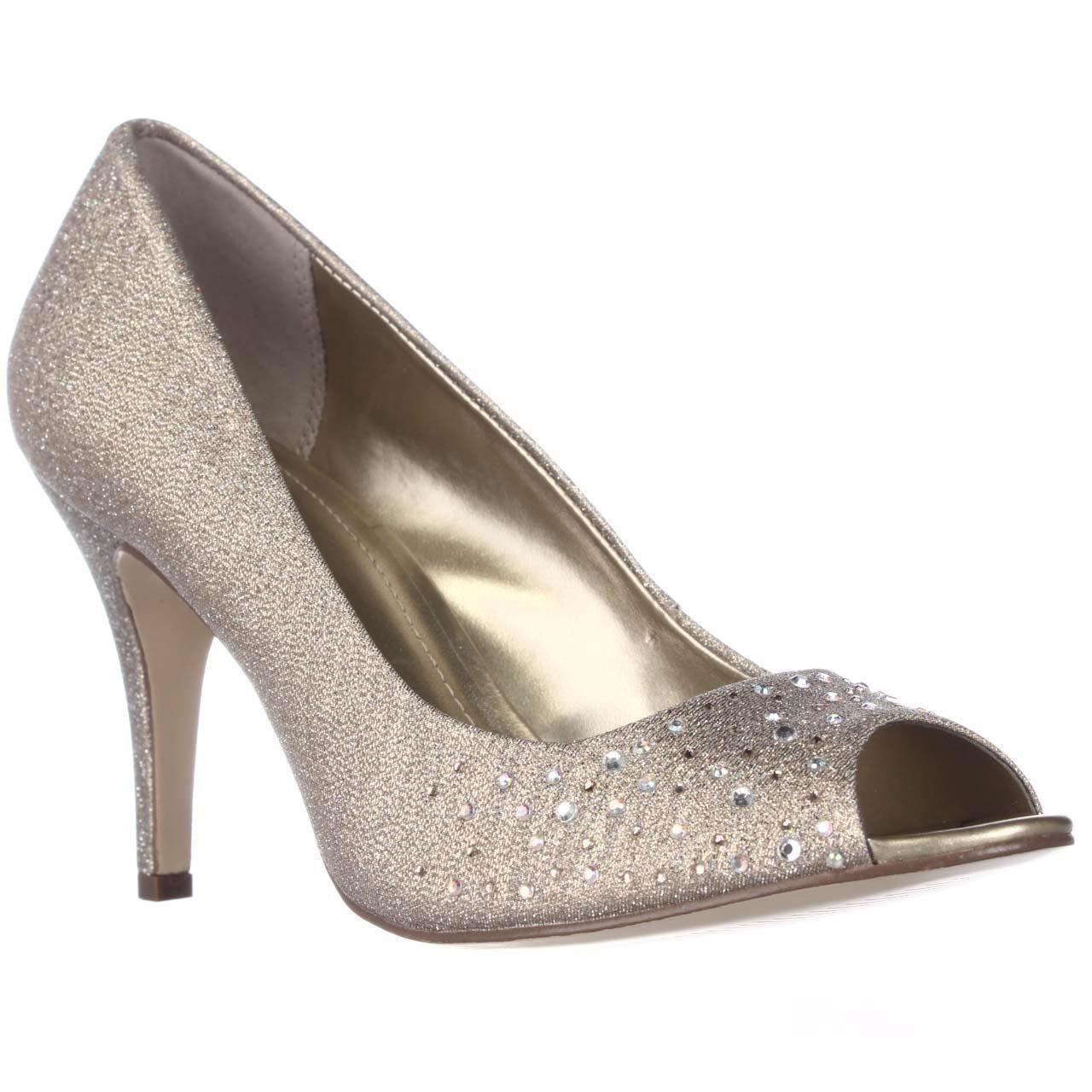 Style & Co. Womens Monaee Peep Toe Slingback Classic Pumps, Gold, Size 10.0