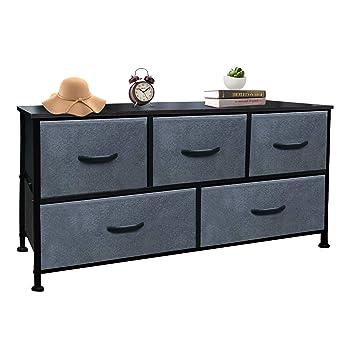 Vertical Dresser Storage Tower Wood Top, Easy Pull Fabric Bins 4 Drawers (5-Dark Gray Drawer Organizer)