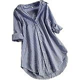 LANSKIRT Camisa de Las Mujeres Impresión de Cuadros Manga Larga Tallas Grandes Loose Casual Blusa con Botones en la…