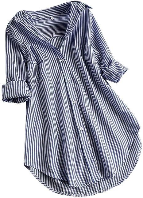 LANSKIRT Camisa de Las Mujeres Impresión de Cuadros Manga Larga Tallas Grandes Loose Casual Blusa con Botones en la Parte Superior del botón de Bolsillo: Amazon.es: Ropa y accesorios