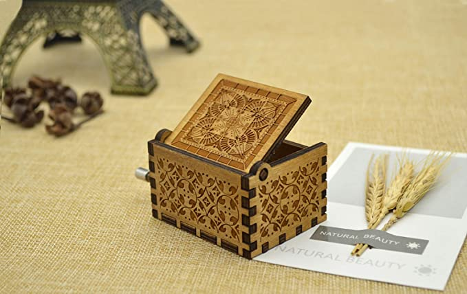 Shirylzee Wooden Hand Crank Music Box 18 Note Handmade Laser Engraved Music Box Beauty and the Beast Theme Decorative Box Gift for Kids Friends Family Musical Toy
