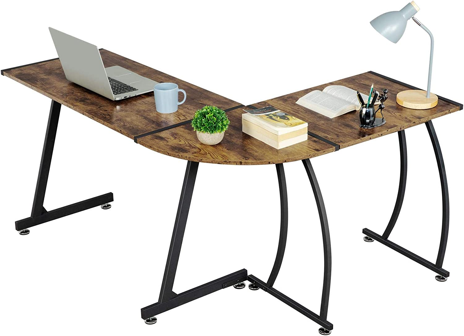 YAHEETECH 58 inch L-Shape Corner Computer Desk, Multipurpose Wood Writing Studying Table with Round Corner, Large PC Laptop Workstation Table, 3-Piece Modern Desk, Home Office Furniture, Rustic Brown