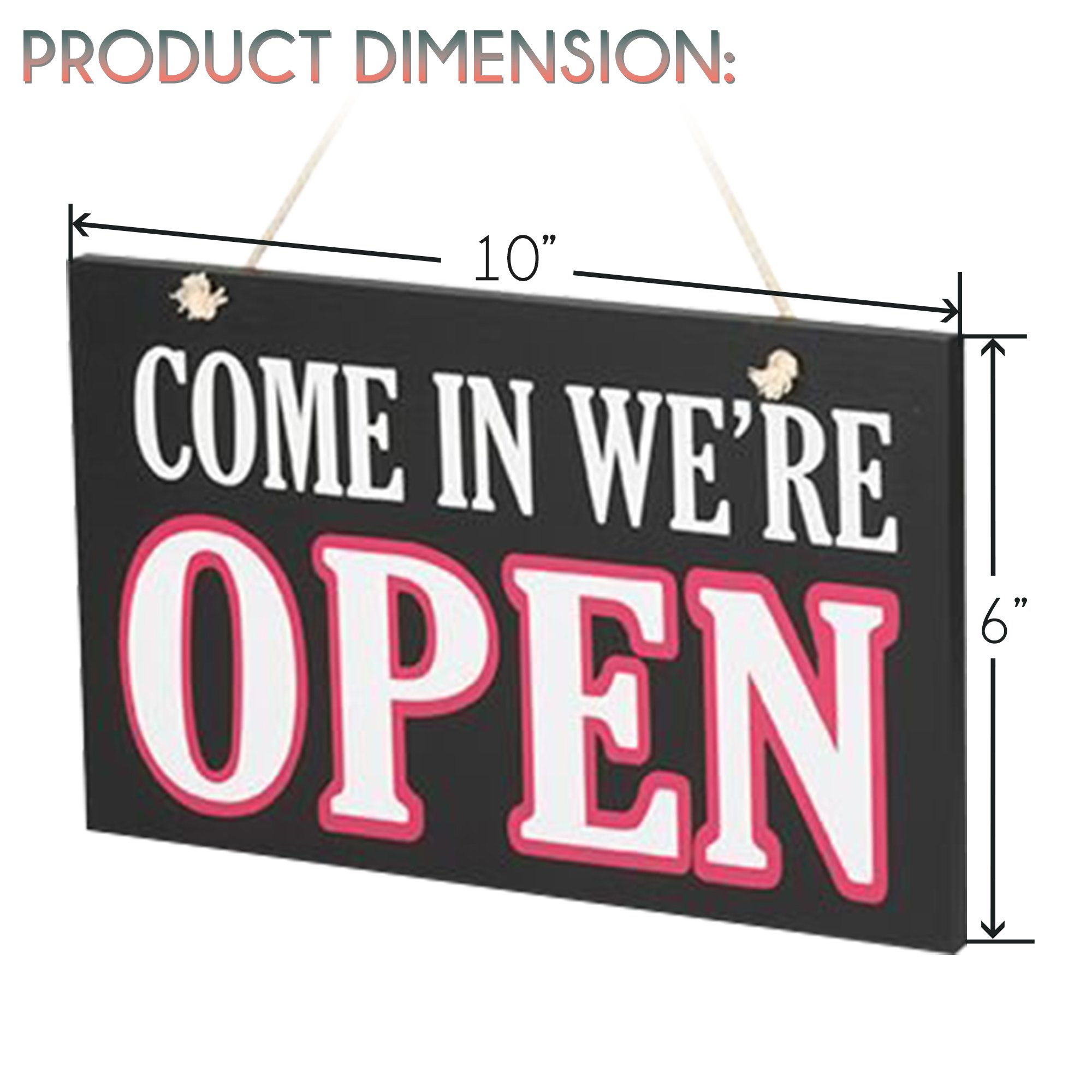 JennyGems Wooden Open Closed Two Sided Sign Rope Hanging - Wooden Business Sign