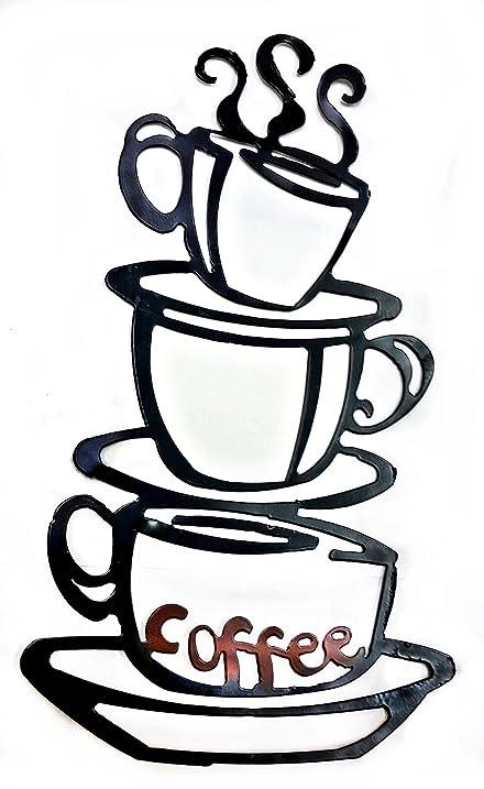Amazon.com | Coffee House Cup Java Silhouette Wall Art Metal Mug Nu ...