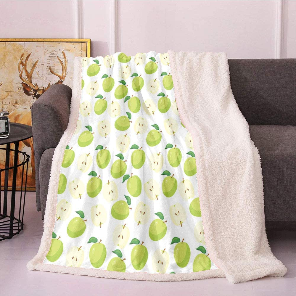 Apple Fleece Throw Blanket,Cartoon Style Green Fruits Stalks Core and Seeds Anatomy of an Apple Blanket Small Quilt,car Fur Blanket(50x60 Inches,Brown Yellow Green Cream)