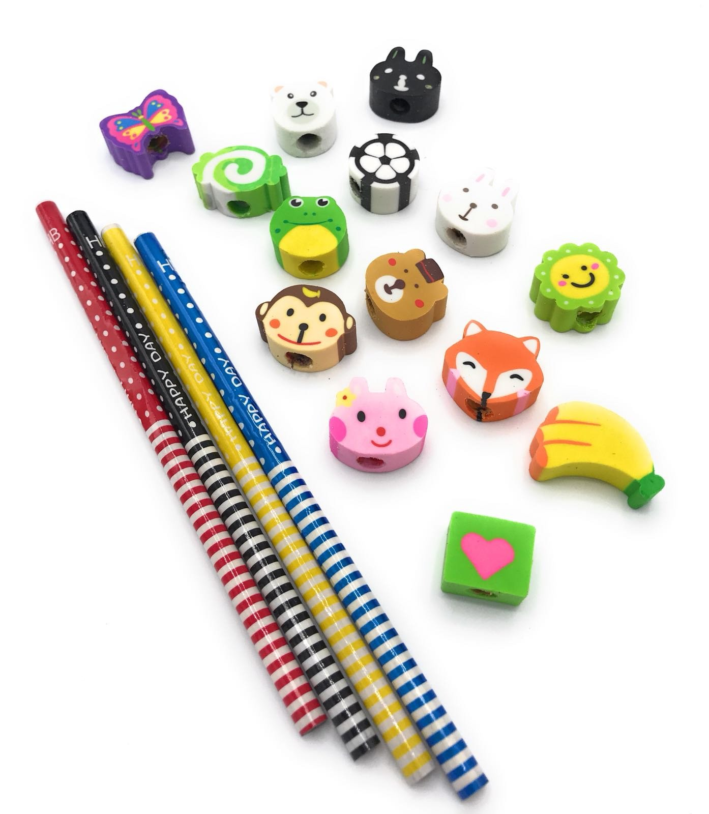 Gennilo Pack of 40 Pencils with Erasers Colorful Novelty Cartoon Animals' Stripe Eraser Wood Pencils (7.28'') for Students & Children Gift (40pcs cartoon pencil with eraser), Animals Assorted by Gennilo (Image #4)
