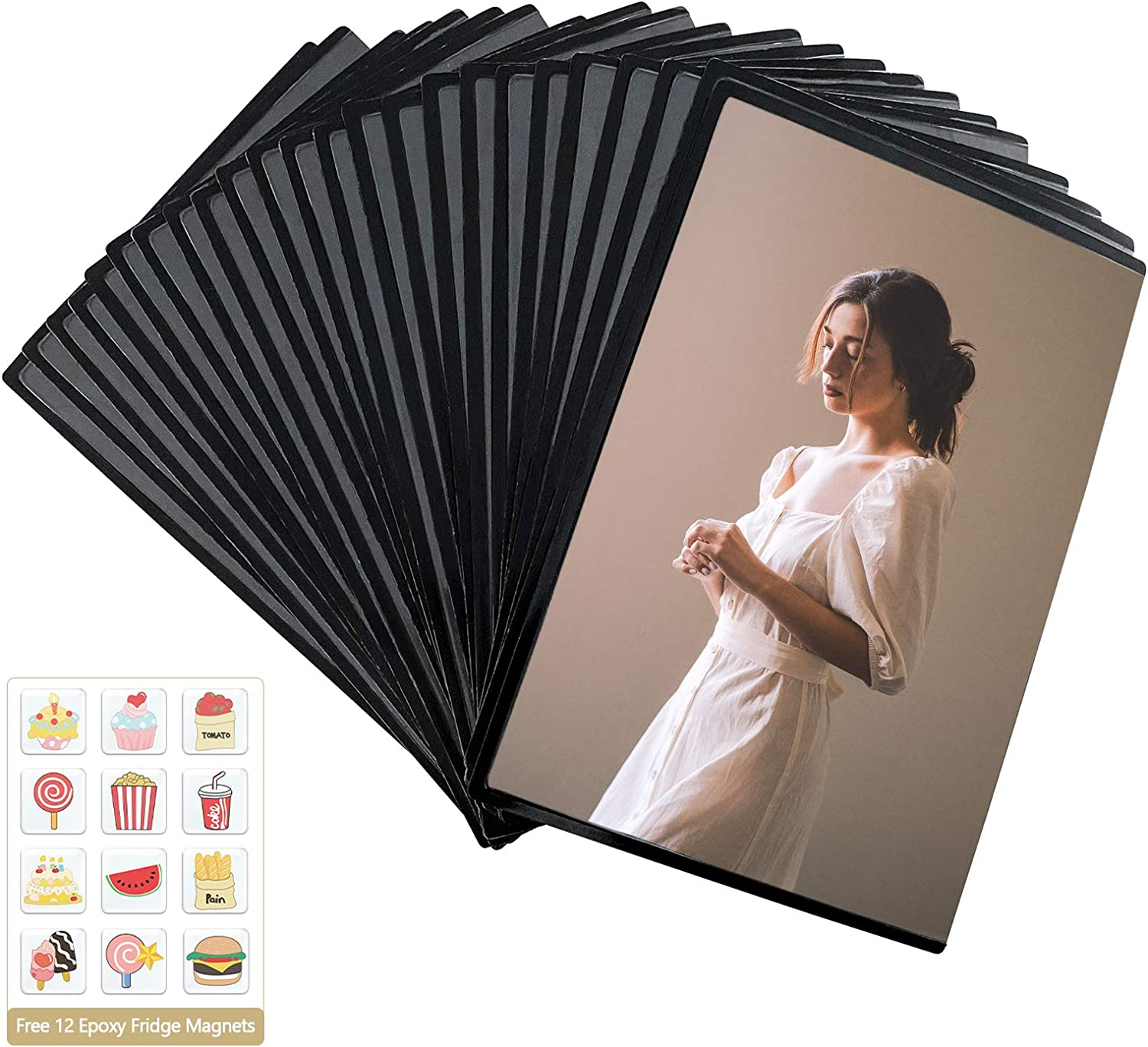 Mingting 24 Pcs Magnetic Picture Frame,Holds 4 X 6 Inches Pictures,Reusable Black Magnetic Fridge Photo Sleeves with Clear Pocket for Refrigerator,Locker, Office Cabinet,with Free Removable 12 Pcs Food Fridge Magnet (Magnetic Photo Pocket & Magnet Sticker)
