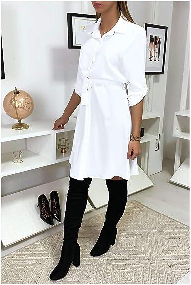 Miss Wear Line – Vestido de camisa blanca fluida anuada a la talla (7-18206- blanco) blanco S: Amazon.es: Ropa y accesorios