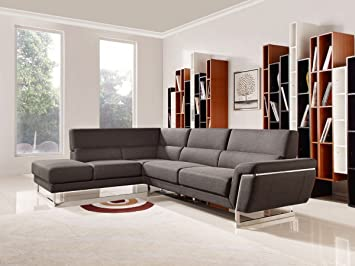 Superieur VIG Furniture Divani Casa Navarro Collection Modern Fabric Upholstered  Sectional Sofa With Left Facing Chaise ,