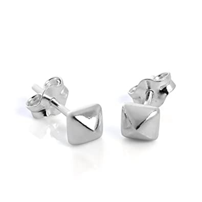 58a95c15e Image Unavailable. Image not available for. Color: Sterling Silver Square  Pyramid Stud Earrings