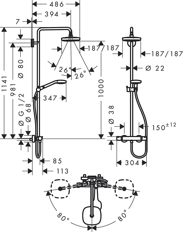 mit Einhebelmischer, 4 Strahlarten hansgrohe Croma Select E 180 Duschsystem wei/ß//chrom