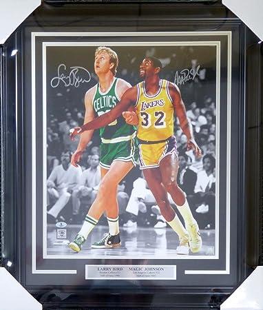 5ceade25822 Larry Bird   Magic Johnson Autographed Framed 16x20 Photo - Beckett ...