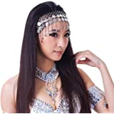 BellyLady Belly Dance Tribal Silver Coins Headband, Gypsy Egyptian Jewelry