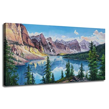 Ardemy Canvas Wall Art Painting Rocky Mountain Moraine Lake Picture, Modern Banff National Park Long Nature Blue Artwork Gallery and Framed Panoramic Mural for Home Office Living Room Bedroom Decor