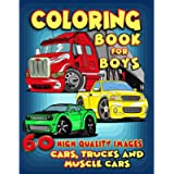 Cars, Trucks and Muscle Cars Coloring Book for Boys: 60 Unique Coloring Pages, Cars, Trucks, Мuscle cars, SUVs…