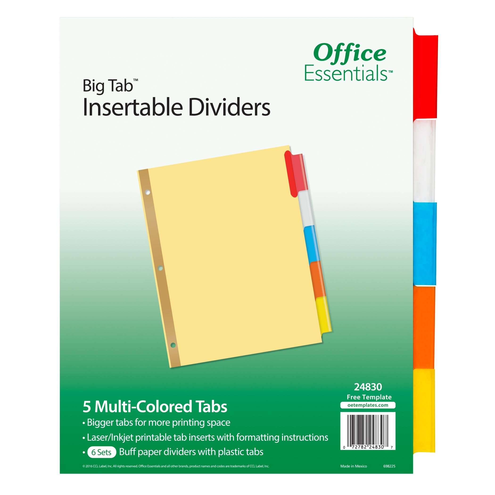 Office Essentials Big Tab Insertable, Multicolor Tabs, Buff Paper, 5 Tab, 6 Pack (24830)
