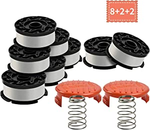 Black and Decker AF-100 Weed Eater Spool,30 Feet/0.065 Inches Line String Trimmer Autofeed System Replacement Spool (8 Spool,2 Cap,2 Spring)