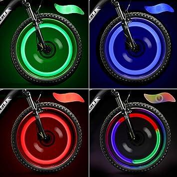 TAGVO 4pcs luz de radios de Bicicleta, fácil instalación Luces de radios de Rueda para Adultos,