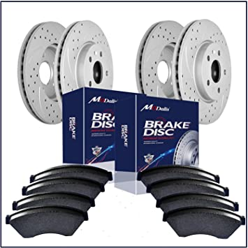 Fit 2005 Dodge Magnum Rear HartBrakes Drill Slot Brake Rotors+Ceramic Brake Pads