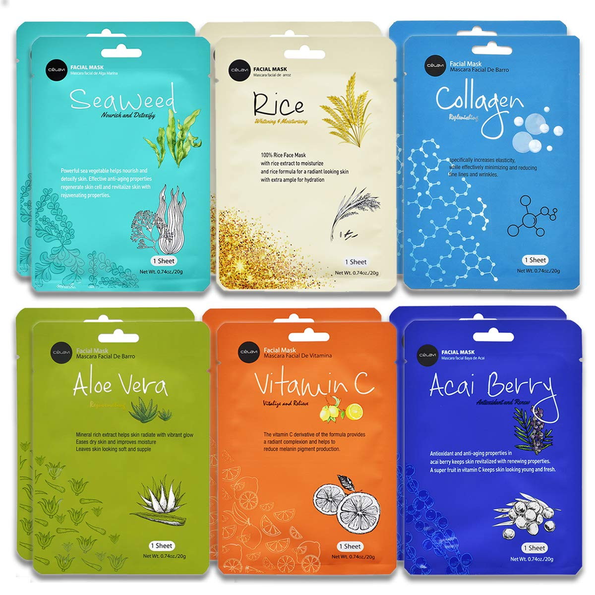 Celavi Essence Facial Face Mask Paper Sheet Korea Skin Care Moisturizing 12 Pack (Mix - 2 of Each) Collagen/Vitamin C/Aloe Vera/Acai Berry/Seaweed/Rice