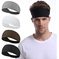 Udaily 4 Pack Mens Headband, Sports Headbands for Men and Women, Mens Sweatband for Workout, Running, Hiking, Yoga…