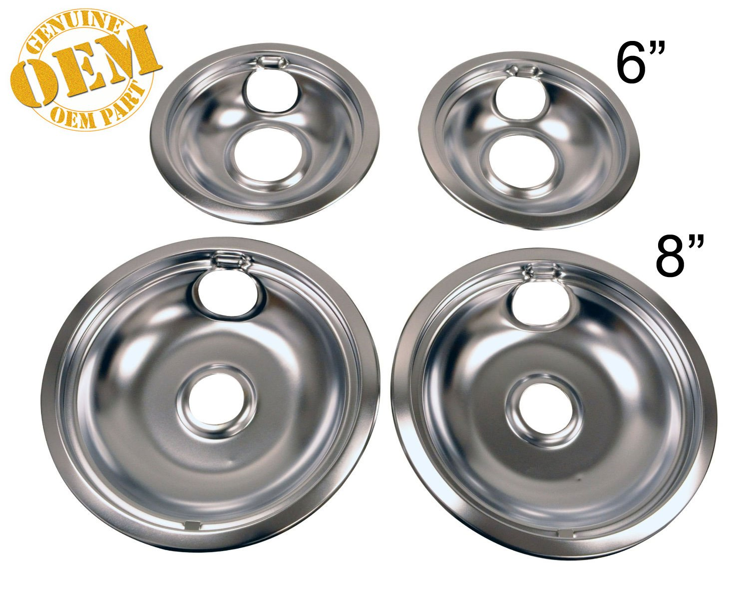 INCLUDES 2-6 AND 2-8 NEW FACTORY ORIGINAL CHROME OVEN COMPLETE DRIP 4 PAN BOWL SET PS2366565