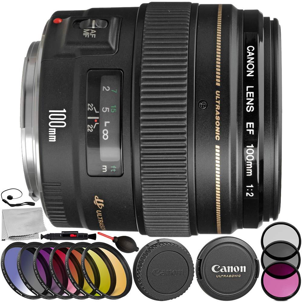 Canon EF 100mm f/2 USMレンズ 9PCアクセサリーバンドル - メーカーアクセサリー + 3ピースフィルターキット (UV + CPL + FLD) + その他 (認定整備済み)   B07H1266DH
