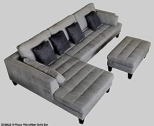 Stendmar 3pc Sectional Sofa Chaise Ottoman