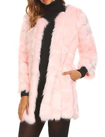 Modfine Fell Jacke Damen Winter Warme Elegant Jacke Fellmantel Parka  Kunstpelz Mantel  Amazon.de  Bekleidung fc1aad8727