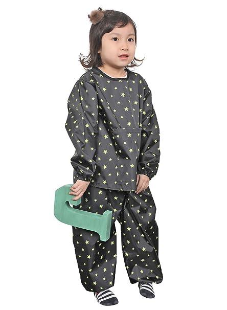 Plie Unisex Children Waterproof Two-Piece Art Smock Small Black Greenstar