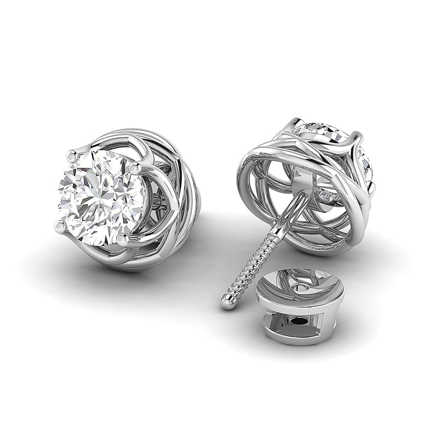 /Pure Gold // 925 Sterling Silver GH//VVS Round Brilliant Earring Studs 0.3 to 4 Carat Moissanite Stud Earrings Stud Earrings for Women perfect Jewelry Gifts for Women Teen Girls
