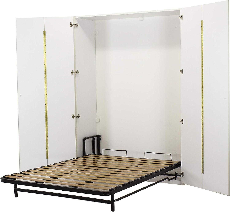 WallBedKing - Cama de doble pared en armario blanco (cama urphy, cama plegable, cama de pared, cama oculta, cama de invitados)