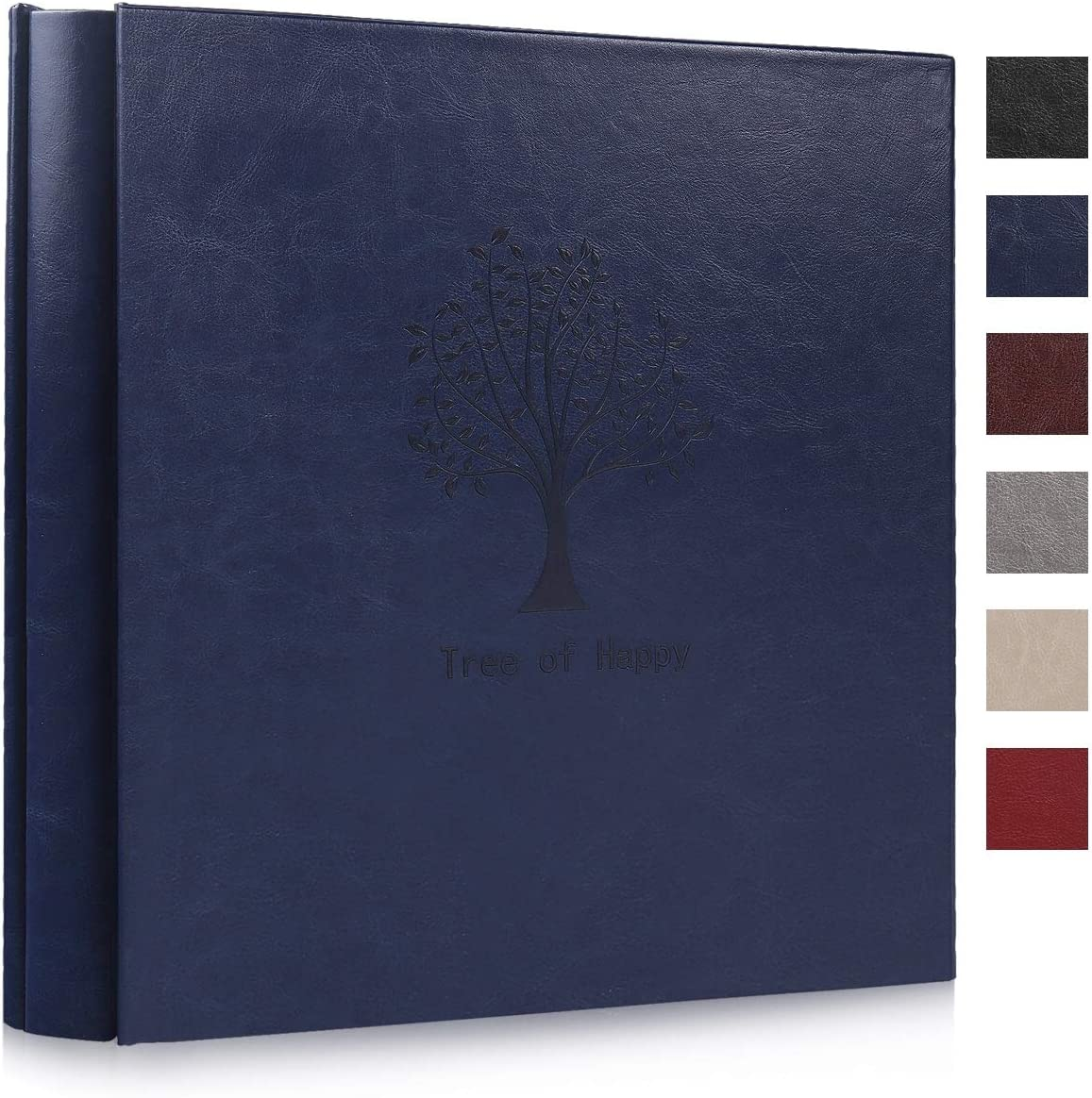 RECUTMS Photo Album 4x6 600 Pictures,5 Per Page,Tree Pattern Plain PU Leather Albums Wedding Souvenir Albums Baby Growth Memo Book Holds 600 Horizontal and Vertical Photos (Blue)