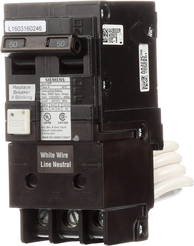 Siemens QF250A Breaker Ground Fault Circuit Interrupter, 50 Amp, 2 Pole, 240 Volt, 10,000 AIC