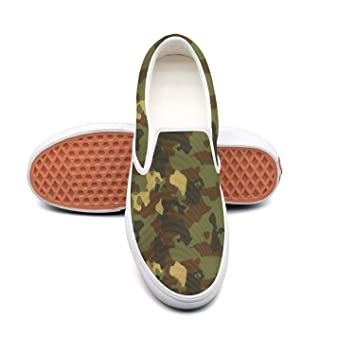 Uieort Military Diamond camo Womens Lace up Loafers Shoes Comfortable