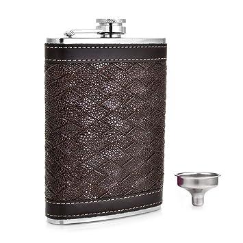 Gennissy 8 estilos personalizados petaca alcohol petaca 9oz flauta de cuero acero inoxidable embudo portátil Groomsman regalo para hombre Black ...