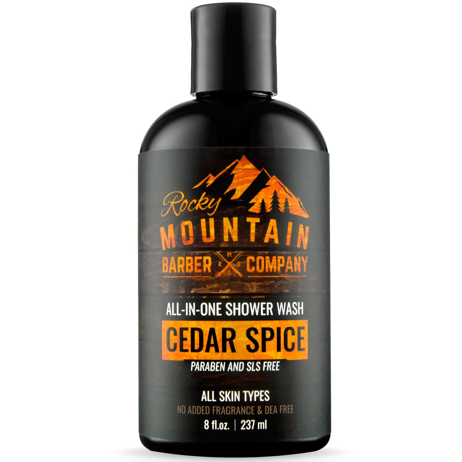 All-in-One Shower Wash for Men - Canadian Made Shampoo, Body Wash, Conditioner, Face Wash & Beard Wash with Essential Oils - Cedar Spice Scent - 8 oz Rocky Mountain Barber Company